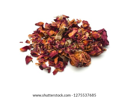 Dried rosebuds on white background #1275537685