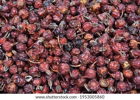 Dried rosehip plant for the backdrop. The dark red color of the rose haw fruit. Ingredient concept for herbal teas, jam, jelly, syrup, rose hip soup. Stock photo ©