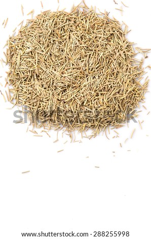 Dried rosemary herb leaves over white background #288255998