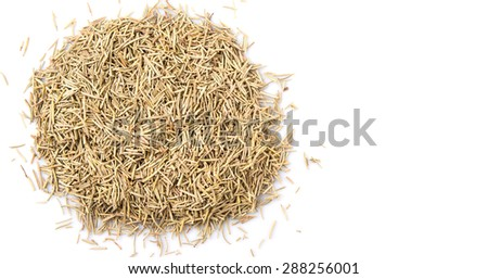 Dried rosemary herb leaves over white background #288256001