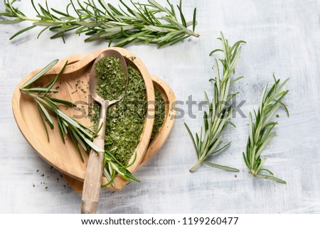 Dried rosemary with fresh rosemary twigs. Top view #1199260477