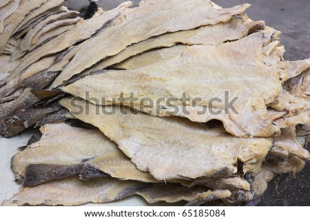 dried salted cod, fillets of fish preserved through salting