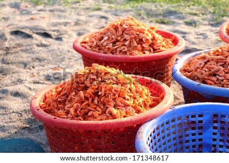dried shrimp is the best of seafood goods logistic in asia, have been sunlight background