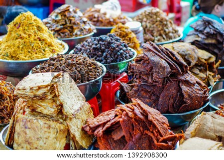 Dried spiced squid, Dried spiced fish, dried spiced beef at Han market, Da Nang, Vietnam.