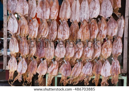 Stall of dried salty fish in Thailand/Stall of dried fish