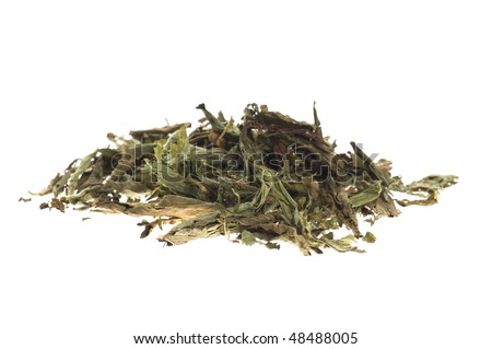 Dried Stevia Rebaudiana - natural sweetener isolated on white
