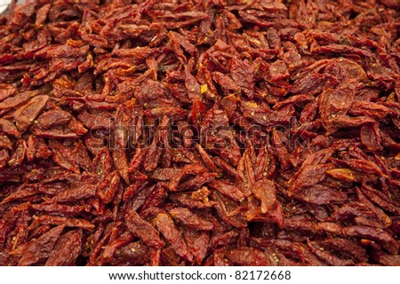 Dried tomatoes for sale in market