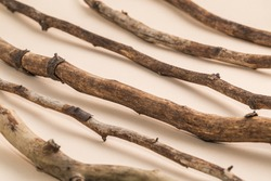 Dried twigs on beige background for natural cosmetic products with wood, branches.