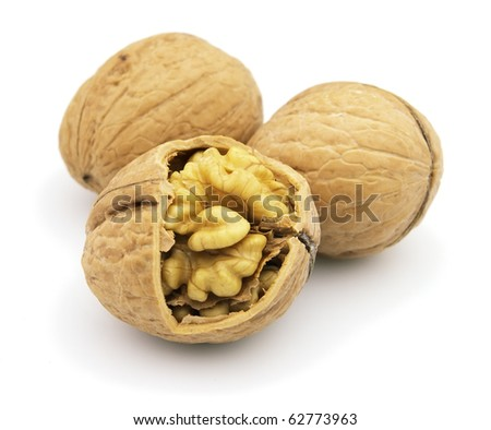 Dried walnuts on a white background