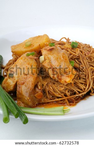 dried wanton noodle with curry chicken - malaysian food