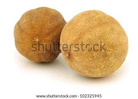 "dried ""white lime"" fruit on a white background"