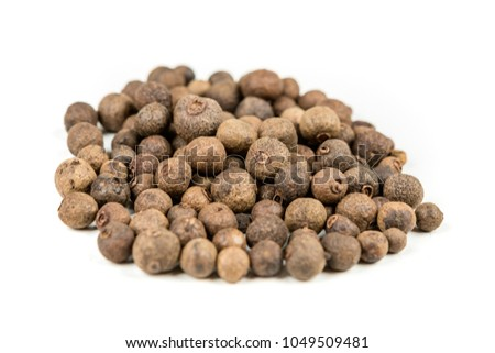Dried whole allspice isolated on a white background #1049509481
