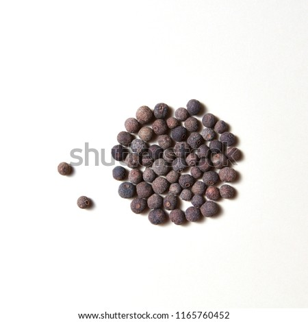 Dried whole allspice, jamaica peper - spice for culinary cooking isolated on white background with copy space. #1165760452