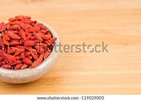 dried wolfberry fruit in bowl on the table