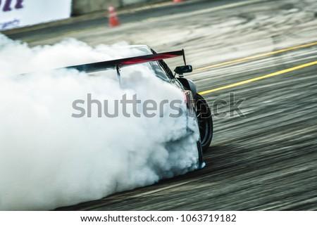 Drift car power  burning smoke