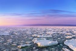 Drift Ice at the early morning in shiretoko, Hokkaido, Japan