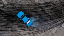 Drifting car, Aerial view professional driver drifting car on race track, Abstract texture and background black tire tracks skid on asphalt road, Wheel tire tracks background, Car tire track skid mark