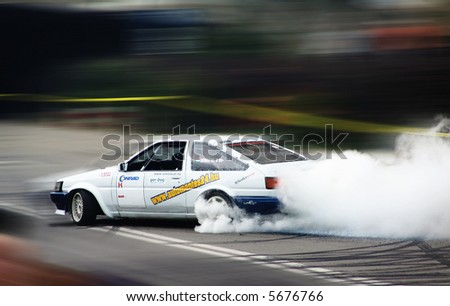 Drifting car in tunning show - lots of place for text 01