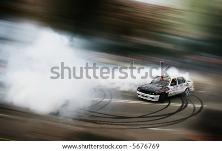 Drifting car in tunning show - lots of place for text 02