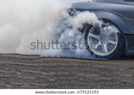 Drifting car, Sport car wheel drifting and smoking on track.