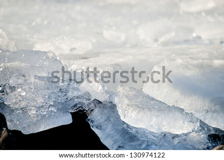 Drifting ice is often caused by high winds after a heavy frost. Upper lakes or other large water surfaces, the wind gets hold of the vast ice fields, which then move.