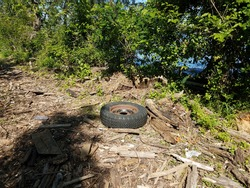 driftwood and logs and tire on trail near Potomac river