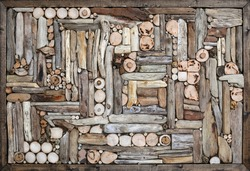 Driftwood wall decoration in frame