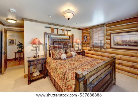 Driggs, Idaho, USA Oct. 27, 2014 A luxurious living room, with comfortable furnishings, in a modern log cabin in the mountains. #537888886