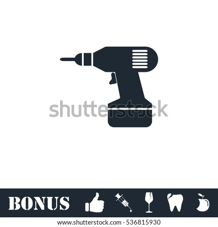 Drill icon flat. Simple illustration symbol and bonus pictogram