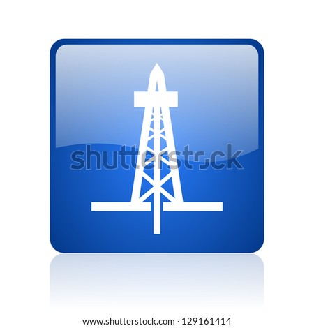 drilling blue square glossy web icon on white background