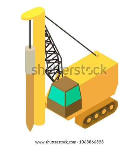 Drilling machine icon. Isometric illustration of drilling machine icon for web