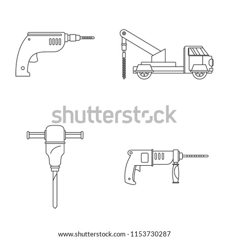 Drilling machine rig electric icons set. Outline illustration of 4 drilling machine rig electric icons for web