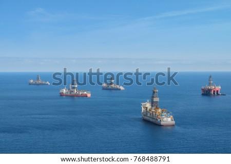 drilling platform ,  offshore drill ships, ocean aerial #768488791