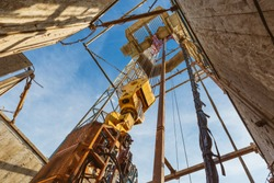Drilling rig in oil field for drilled into subsurface in order to produced crude, inside view. Petroleum Industry