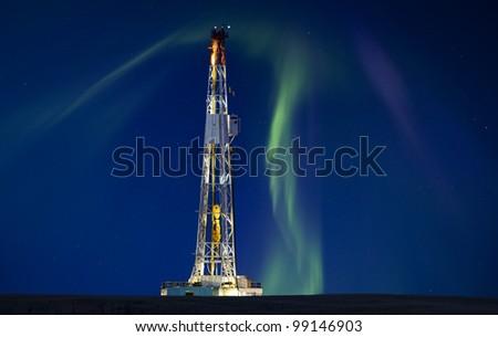 Drilling Rig Potash Mine Night Photography Northern Lights Aurora