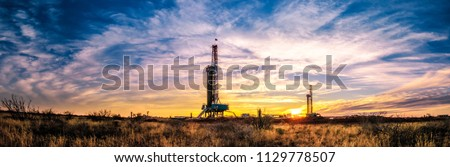 Drilling Rig Sunset Panorama