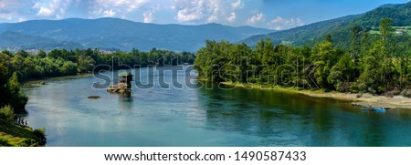 Drina river with famous house on the rock, Serbia Stock photo ©