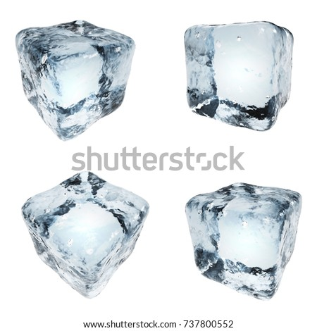 Drink ice cubes isolated on white background. 3D illustration. Frozen water blocks set.
