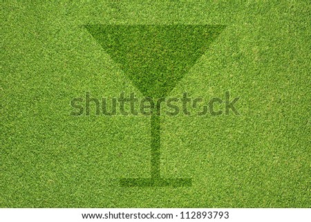 Drink icon on green grass texture and  background