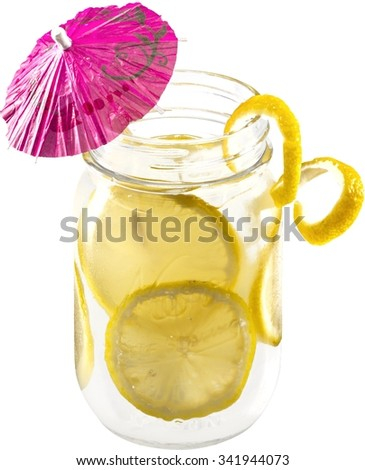 Drink in a mason jar glass with lemons #341944073