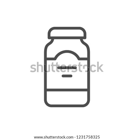 Drink jar line icon isolated on white