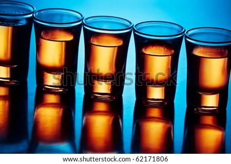 drink shots in blue light