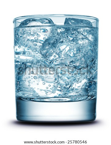 Drink with ice close-up isolated on white