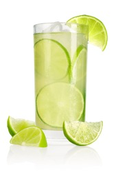 Drink with lime and ice isolated on white background