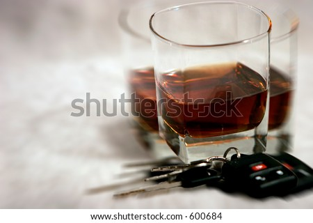 Drinking and Driving - Blurred, Double Vision of Keys and Alcohol