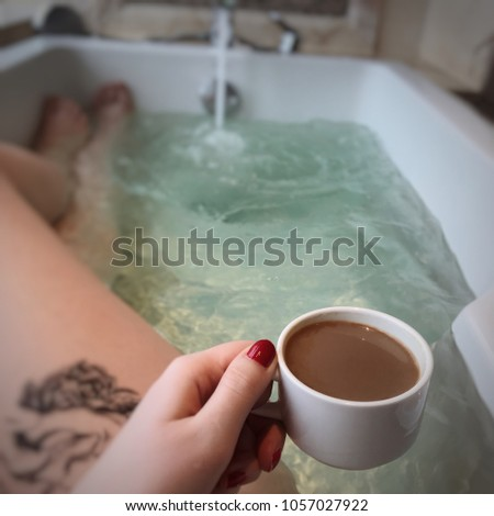 Drinking coffee in a bath