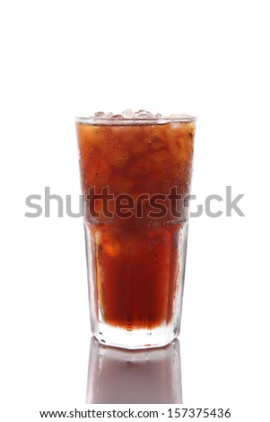 Drinking cola soda water isolated in white background