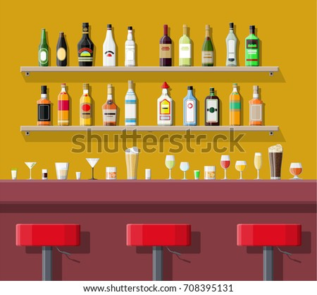 Drinking establishment. Interior of pub, cafe or bar. Bar counter, chairs and shelves with alcohol bottles. Glasses and lamp. illustration in flat style.