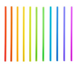 Drinking straw set of rainbow colored plastic tubes isolated over white background