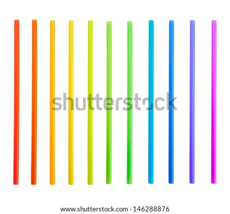 Drinking straw set of rainbow colored plastic tubes isolated over white background - stock photo